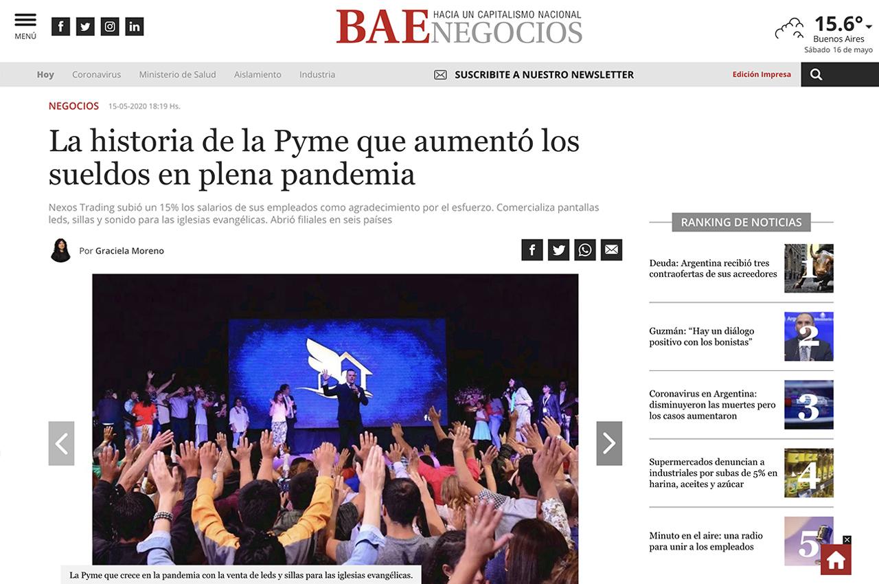 Nota a Javier Miranda en BAE Negocios.